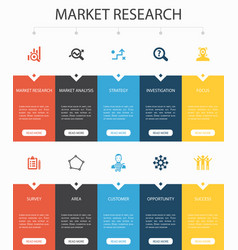 Market research infographic 10 steps ui design vector