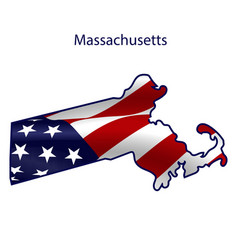 Massachusetts full american flag waving in the vector