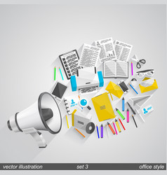 Megaphone office style set 3 vector