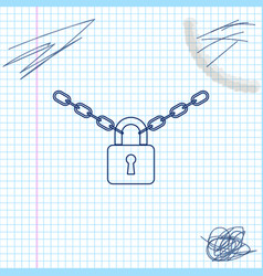 Metal chain and lock line sketch icon isolated on vector