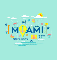 Miami florida design of attractions icons vector