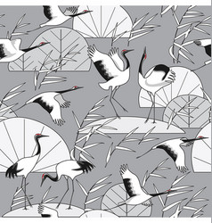 Monochrome seamless pattern with cranes and reeds vector