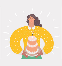 Mother holding first birthday cake with one candle vector