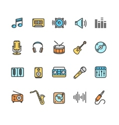 Music Icon Set Color vector image