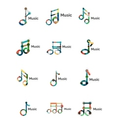 Music note logo set flat thin line geometric vector image