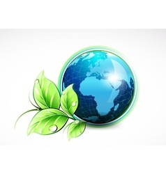 Natural blue World with green leaves and water vector