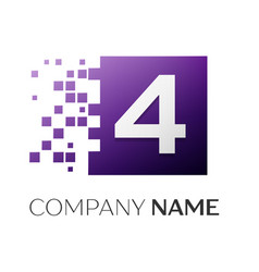 Number four logo symbol in the colorful square on vector