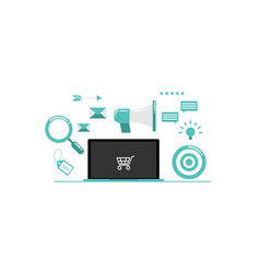 Online marketing with laptop vector