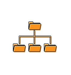 orange folder tree icon isolated on white vector image