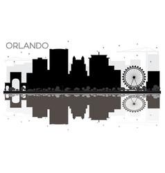 orlando city skyline black and white silhouette vector image