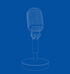 outline vintage microphone vector image