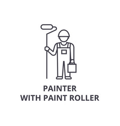 painter with paint roller line icon sign vector image