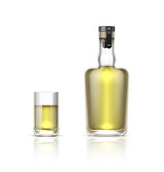 Realistic alcohol bottle 3d glass shot with vector