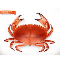 red crab 3d icon seafood realism style vector image