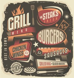 Retro grill menu design template vector