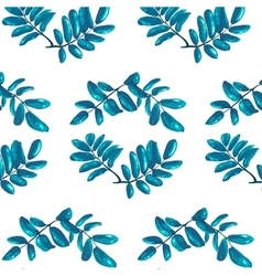 Rhombic Blue Leaves Seamless Pattern vector image