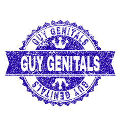 Scratched textured guy genitals stamp seal with vector