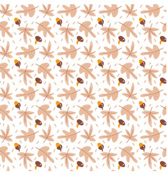 seamless pattern with acorns mushrooms and autumn vector image