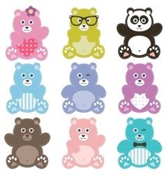 Set of teddy bears vector image