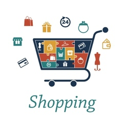 Shopping concept puzzles with a cart and icons vector image