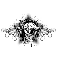 skull in headphones sunglasses and patterns vector image
