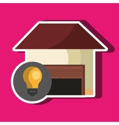 Smart home with bulb isolated icon design vector