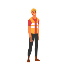 Smiling male building worker character with hard vector