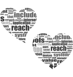 Social media love concept in word tag cloud vector image