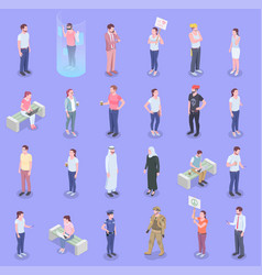 society people isometric set vector image