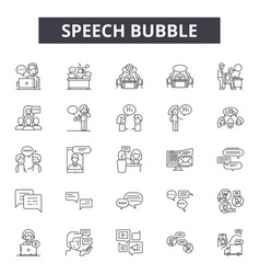 speech bubble line icons signs set vector image