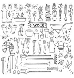 Spring garden doodle setOutline toolsplants vector