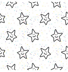 Stars smileys black and white seamless vector
