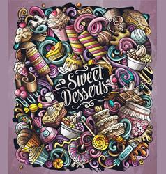 sweet food cartoon doodles vector image