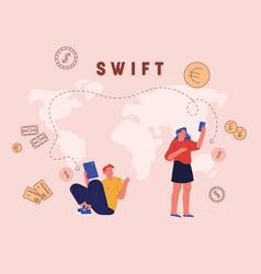 Swift society worldwide interbank financial vector