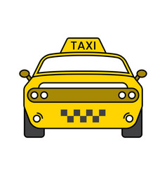 Taxi cab flat icon yellow color for apps vector