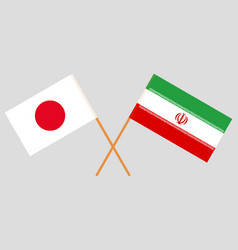 The iranian and japanese flags vector