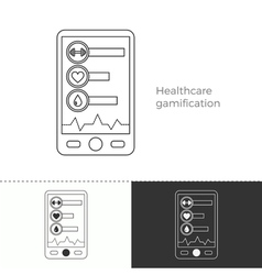 Thin line concept icon of healthcare gamification vector