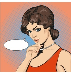 thinking woman in retro pop vector image