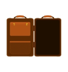 Travel big suitcase brown opened with handle vector