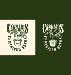 vintage cannabis flower label template vector image
