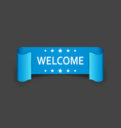 welcome ribbon icon hello sticker label on black vector image