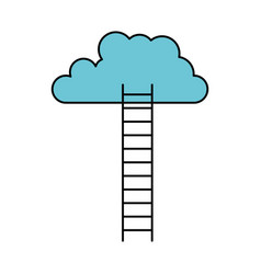 White background with colorful ladder to cloud vector