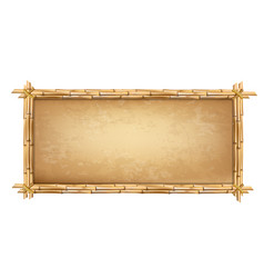 Wooden frame made of brown bamboo sticks with vector