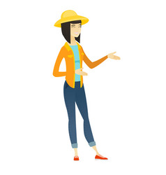 young asian happy farmer gesturing vector image