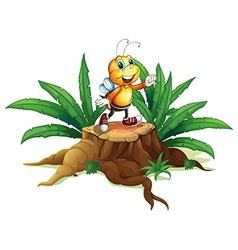 A smiling bee above the trunk vector image vector image