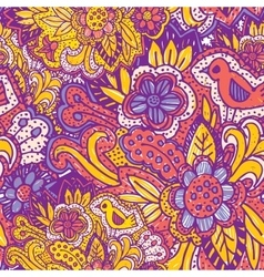 Doodle seamless pattern with flowers and birds vector image vector image