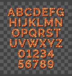 retro light bulb bright alphabet isolated on vector image