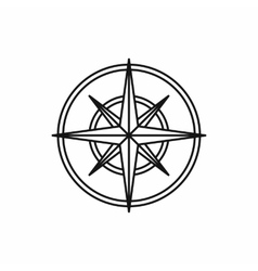 Compass wind rose icon outline style vector image