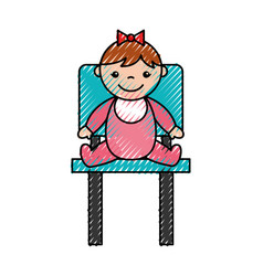 Cute girl baby avatar character vector