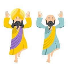 Indian yogi meditates two people practicing yoga vector